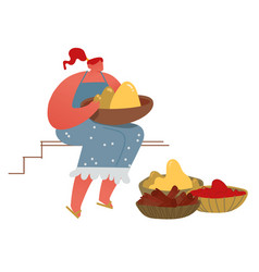 Woman selling fresh exotic food spice and colorful vector
