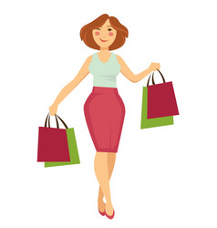 woman with shopping bags walking and buying making vector image