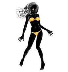Yellow bikini girl silhouette vector
