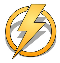 yellow thunder in circle with shadow isolated on vector image