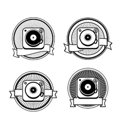 Black and white record player vector image vector image