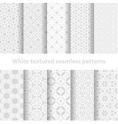 white textured seamless patterns set vector image