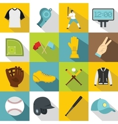 Baseball icons set flat style vector image vector image