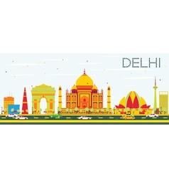 Delhi Skyline with Color Buildings vector image