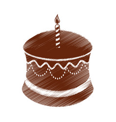 drawing birthday chocolate cake candle vector image