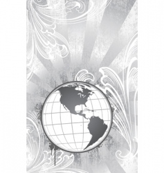 etched globe vector image vector image