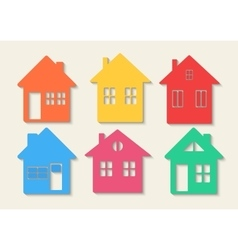 Houses icons set Real estate Colourful home icon vector image