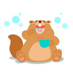 happy fluffy beaver love brushing teeth cartoon vector image vector image