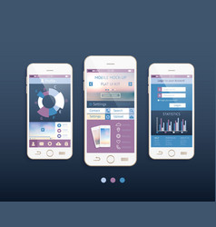 Mobile ui kit design with mobile phones vector image