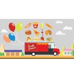 Red wagon fast food with baloons vector image vector image