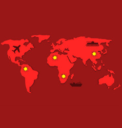 red world map vector image vector image