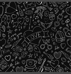 seamless happy valentine day pattern hand drawn vector image vector image