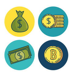 set of investment financial internet technology vector image