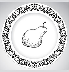 template plates pattern with fruit in a graphic vector image vector image