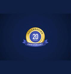 20 years anniversary celebrating blue logo vector