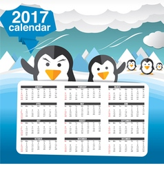2017 Printable Calendar Starts Sunday Cute Penguin vector image