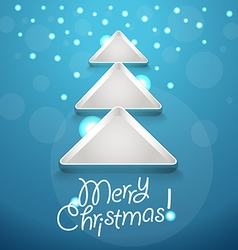 Abstract Christmas tree with glowing snowflakes vector image