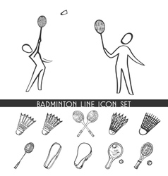 Badminton line icon set vector image