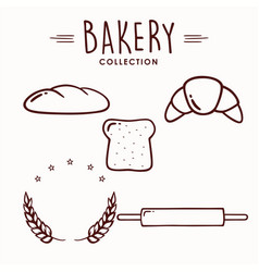bakery and dessert icon set collection logo vector image