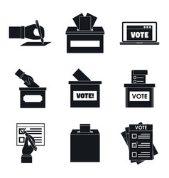 Ballot voting box vote icons set simple style vector
