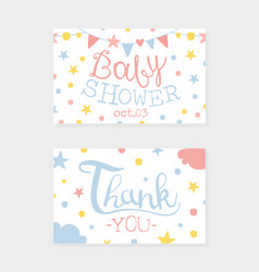 bashower invitation and thank you card vector image