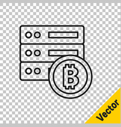 black line server bitcoin icon isolated on vector image