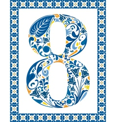 Blue number 8 vector image