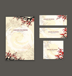 business card template design element sakura vector image