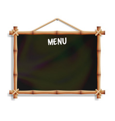 Cafe menu board with bamboo frame isolated on vector