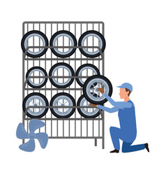 Car mechanic holding a tire tires rack vector