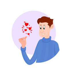 Cartoon character holding a heart in his hands vector