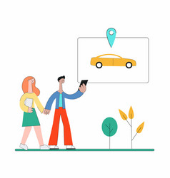 cartoon people using carsharing app and walking to vector image