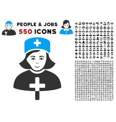 Catholic lady doctor icon with bonus vector