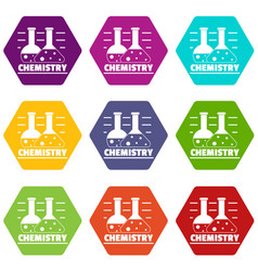 chemistry icons set 9 vector image