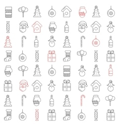Christmas line icons seamless pattern vector