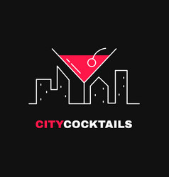 city cocktails logo template design vector image