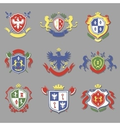 coat arms collection heraldry shields design vector image