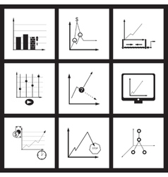 Concept flat icons in black and white infographics vector