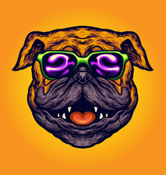 cool pug dog summer sunglasses cartoon vector image