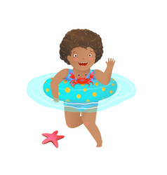 Cute african girl kid swimming with inflatable vector