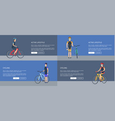 Cycling active lifestyle set vector