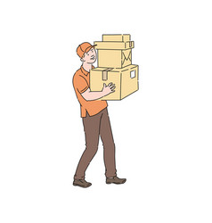 delivery man in cap and t-shirt holding stack of vector image