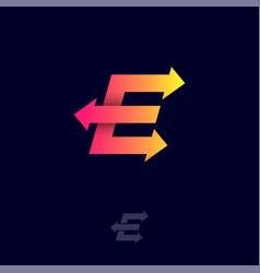 E monogram arrow logistic delivery shipping logo vector