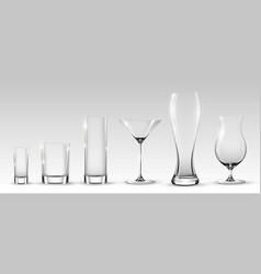 empty realistic glasses set vector image