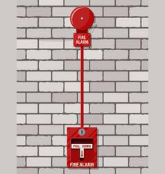 Fire alarm system at brick wall equipment vector