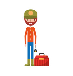 Fisherman with box avatar character vector