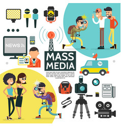 flat mass media composition vector image