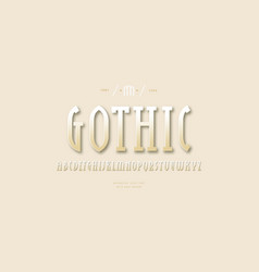 golden colored narrow slab serif font vector image