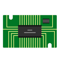 Green microchip icon isolated vector