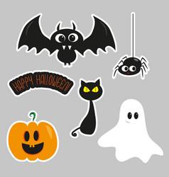 Halloween cartoon sticker set vector